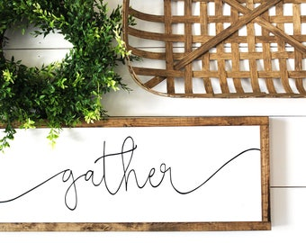 Gather | Fall - Autumn Framed Wood Sign | Farmhouse Decor