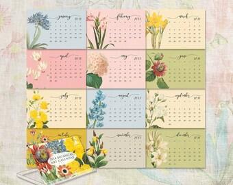 2018 cd calendar - 2018 desk calendar - jewel case calendar - victorian flowers calendar - calender - gift for her - free shipping to U.S.