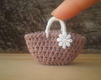 FREE SHIPPING, Miniature Brown Tote Bag with a Flower, Doll Bag, Small Crochet Bag, Gift for Women