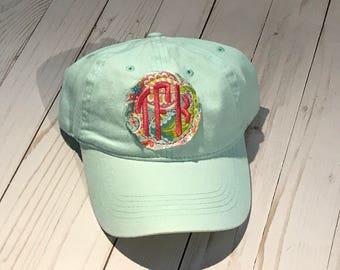 Raggy Circle Monogram Mint Paisley Hat