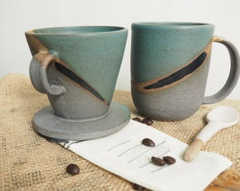 Handmade Ceramic Coffee Drip Cone and Cup Set, Ceramic Pour Over Cone, Gray Black and Green  Coffee Pour Over Cone