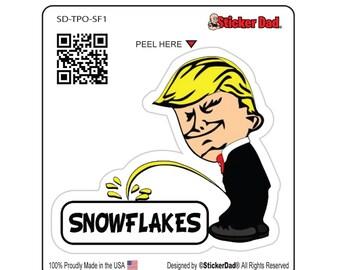 "Trump Peeing on Snowflakes - size: 4"" - Full Color Printed Vinyl Decal Hard Hat Helmet Window Sticker"