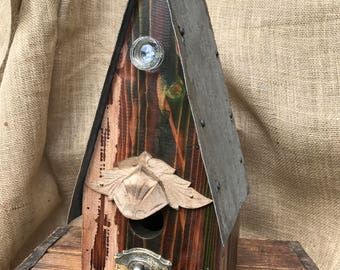 Rustic birdhouse, rustic, birdhouse, recycled, re-purposed