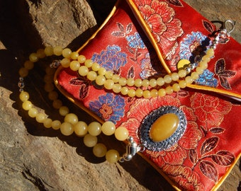 Burmese Yellow Jade Beads and Yellow Jade Pendant All Sterling Silver Handmade Artisan Necklace