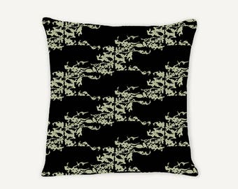 Cedar Waxwing Throw Pillow Collection - Sage and Black