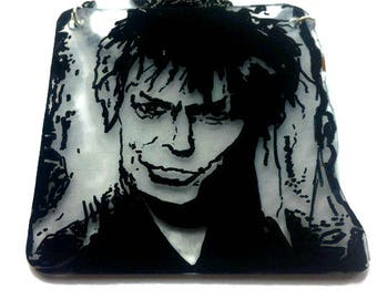 Hand drawn-shrink art-David Bowie-Goblin king-labyrinth-necklace- clear plastic
