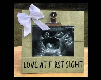 Love at First Sight - Pregnancy Announcement photo picture clip frame. We're expecting twins/triplets/baby surprise gift pregnant ultrasound