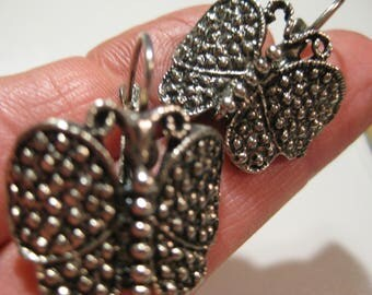 VINTAGE EARRINGS Butterfly old ohrsteckerGigantische earrings Butterfly silver coloured German designer jewelry modernist jewelry