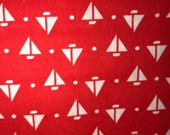 Beautiful Red with white sailboars fabric. 3 yards
