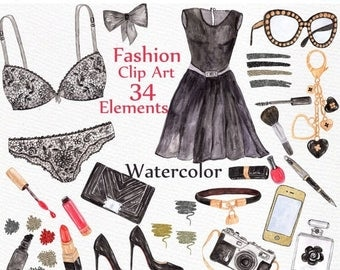 "ON SALE 30% Watercolor Fashion clipart: ""MAKEUP Clipart"" Black Lingerie beauty blog dress lipstick perfume purse shoes Bridal Party Wedding"