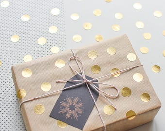 Gold circle stickers, gold round stickers, Gold dots, gold stickers, christmas sticker, gift wrap gold, metallic stickers, holiday stickers