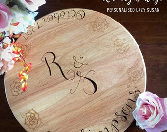 Custom lazy susan, personalised lazy susan, rotating table stand, custom table decor, dinner party, rotating cake stand, beautiful home gift
