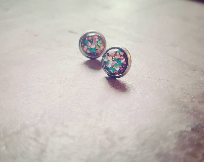 Tiny 8mm teal, rose gold glitter studs on stainless surgical steel