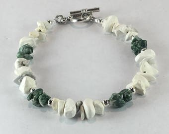 Handmade Men's Genuine White Magnesite Tree Agate Gemstone Boho Zen Bracelet jewelry Men's Gemini bracelet men's Tree Agate Bracelet jewelry
