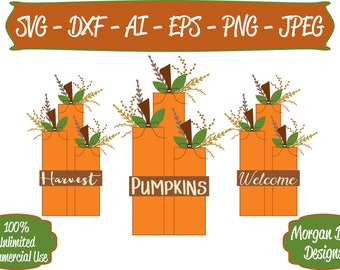 Pumpkin SVG - Harvest SVG -  Fall SVG - Welcome svg - Files for Silhouette Studio/Cricut Design Space