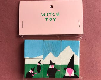 Witch Toy, acrylic on vintage upcycled wood block (puzzle)