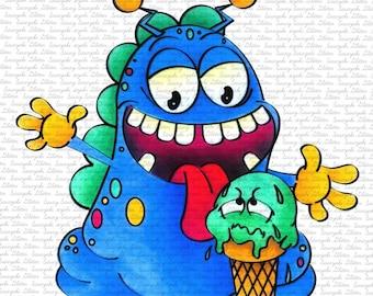 Image #70 - Icecream Monster - Sasayaki Glitter Digital Stamps - Naz Smith - Lineart only- Black and White