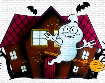 Image #118 - Ghost House - Digital Stamp by Naz - Sasayaki Glitter. Line art only- Black and White