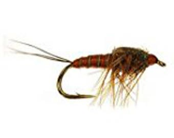 Fly Fishing Trout Flies MARCH BROWN NYMPH - One Dozen Wet Flies - 4 Size Assortment 12,14,16,18 (3 of Each Size)