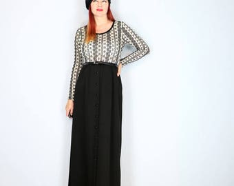 1970s Dress - Crochet Maxi Midi Dress - Long Sleeve - Black White - Knit Top - Winter Fall - Size Small Medium