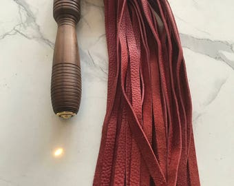 Red Leather Flogger with Rosewood Handle