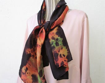 """Silk scarf hand painted silk scarf, scarf, winter, Christmas gift fot him, for men or women, casual chic """"Summer"""" Indian"""