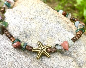 Beach Anklet, Starfish Anklet, Ankle Bracelet, Anklet, Ankle Jewelry, Beach Jewelry, Womans Anklet