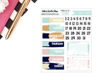 Dusk Brush Stroke Date Covers Planner Stickers