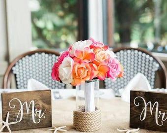 Mr and Mrs wood signs // wedding chair sign // rustic wedding signs // wedding decor // mr and mrs // better together // bride and groom