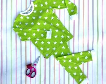Green kids pyjamas, unisex kids pyjamas, jersey pyjamas, jersey sleepwear, kids pajamas, childrens pjs, Christmas pyjamas, gifts for kids