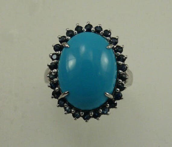 Turquoise Oval Shape and Blue Sapphire Ring with Sterling Silver Setting