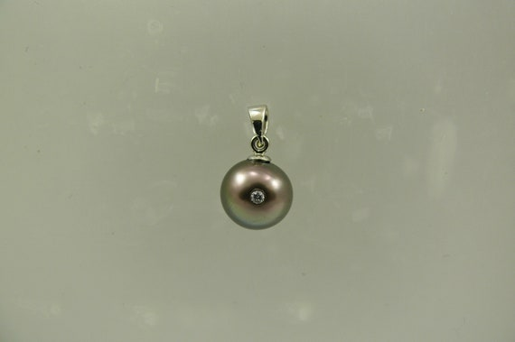 Tahitian Black Pearl Pendant with 14k White Gold and Diamond 0.02ct