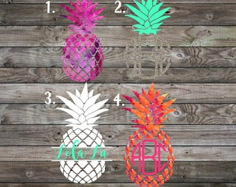 Vinyl Decal | Pineapple Decal | Car Decal | Yeti Decal | Pineapple Monogram Decal | Personalized Decal | Personalized Pineapple decal |