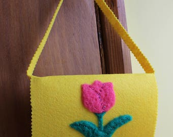 Yellow Children's Bag With Needle-Felted Flowers
