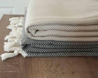 SALE 100 % Cotton blanket - Woven Throw Blanket - Herringbone Cover Blanket - Large Family Picnic Blanket - Fashion Home linen