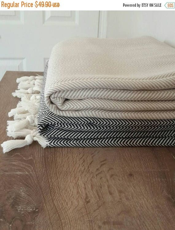sale 100 cotton blanket woven throw blanket herringbone. Black Bedroom Furniture Sets. Home Design Ideas