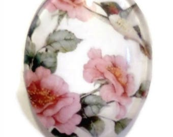 "Cabochon ""Romantic"" - bird - glass, 30 * 40 mm"