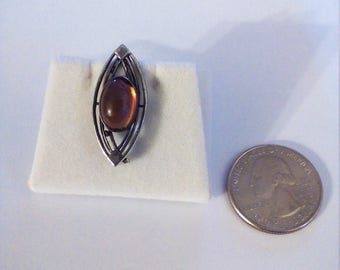 Vintage Sterling Silver Red  Stone Pin