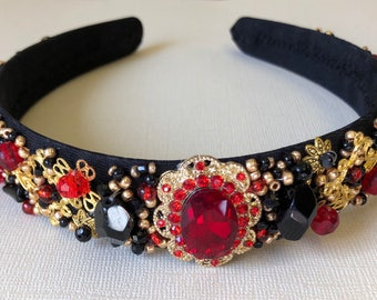 Red/ Black beaded headband crown