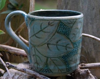 Blue Leaves - handmade ceramic mug, stonewear mug,pottery mug, handmade coffee mug, blue coffee mug, tea mug, gift, pottery cup, leaf mug