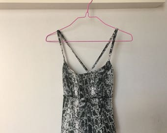 90s Denim Snake Print Backless Top