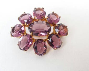 Amethyst Glass Brooch Purple Paste 1930s Open Backed Floral Art Deco Pin Gold Tone Brighton UK