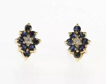10K Yellow Gold Blue Sapphire & Diamond Post Stud Earrings