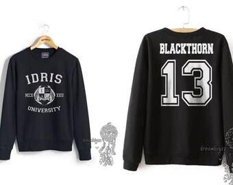 Blackthorn 13 Idris University Crew neck Sweatshirt Black