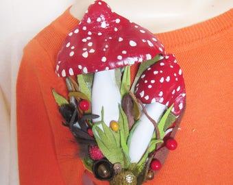 Amanita mushroom brooch leather, mushroom Brooch, mushroom brooch, mushroom 2-in-1 brooch-hairclip, brooch mushroom, Valentines day gift