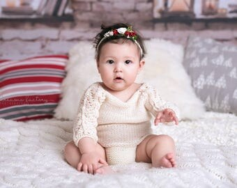 Super soft baby girl sitter size 6-12 month knitted romper photography props