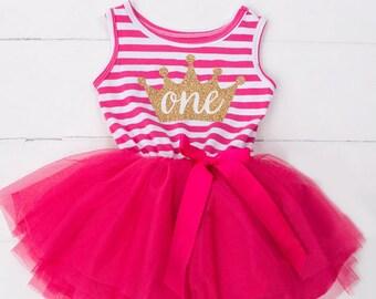 Hot Pink Striped Tutu Dress