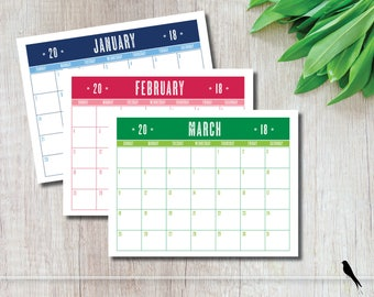 2018 Printable Wall Calendar Planner - Fun Colorful Monthly Wall Calendar and Family Planner - Instant Download