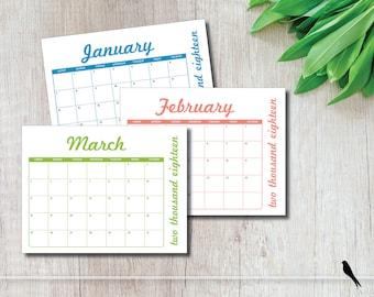 Fun 2018 Printable 12 Month Wall Calendar - Modern, Colorful Monthly Calendar Home or Office Calendar - Instant Download Calendar Calendar