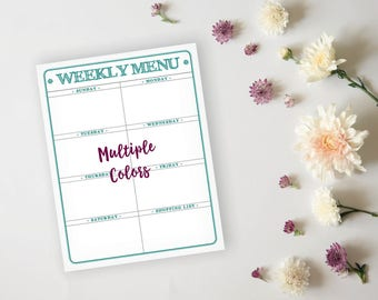 Printable Menu Planner - Rustic Teal Daily Menu Planner Sheet - Meal Prep Grocery List Planner - Instant Download